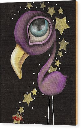 Purple Flamingo Wood Print by  Abril Andrade Griffith