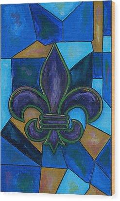 Purple Fleur De Lis Wood Print by Patti Schermerhorn