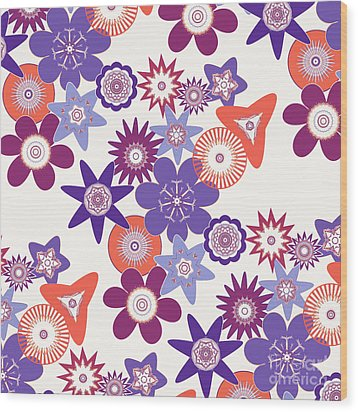 Purple Flower Fantasy Wood Print by Methune Hively
