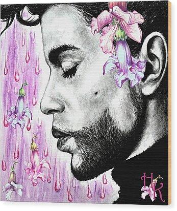 Purple Flower Rain  Prince, Roger Nelson Wood Print by Heidi Kriel