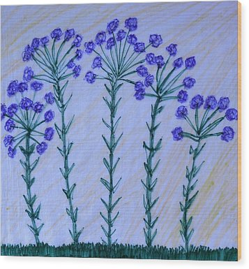 Purple Flowers On Long Stems Wood Print