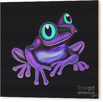 Wood Print featuring the painting Purple Frog  by Nick Gustafson