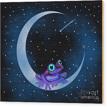 Wood Print featuring the painting Purple Frog On A Crescent Moon by Nick Gustafson