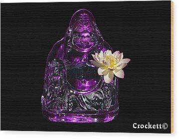 Purple Glass Buddah With Yellow Lotus Flower Wood Print by Gary Crockett