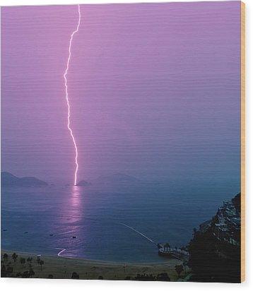 Purple Glow Of Lightning Wood Print by Judi Mowlem