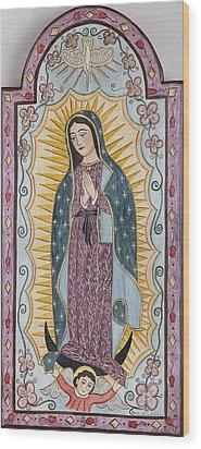 Purple Guadalupe Wood Print by Ellen Chavez de Leitner