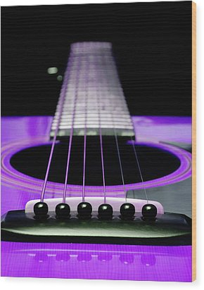 Purple Guitar 15 Wood Print by Andee Design