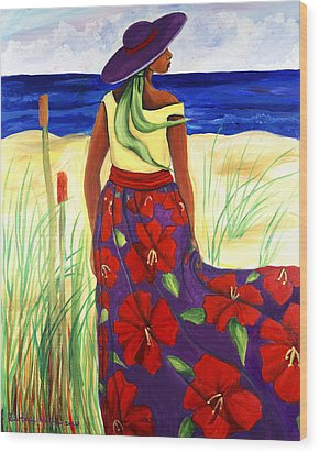 Wood Print featuring the painting Purple Hat by Diane Britton Dunham