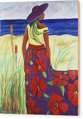 Purple Hat Wood Print