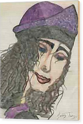 Purple Hat Wood Print