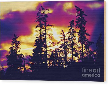 Wood Print featuring the photograph Purple Haze Forest by Nick Gustafson
