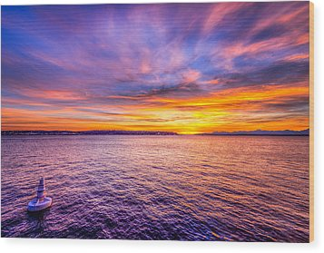 Purple Haze Sunset Wood Print