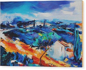 Purple Hills Wood Print by Elise Palmigiani