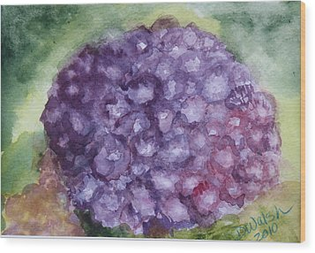 Wood Print featuring the painting Purple Hydrangea by Donna Walsh