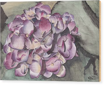 Purple Hydrangea Wood Print