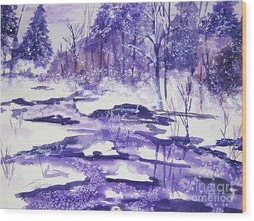 Wood Print featuring the painting Purple Ice On Kaaterskill Creek by Ellen Levinson