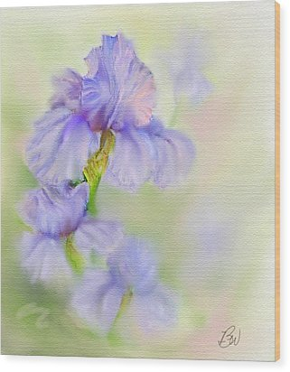 Wood Print featuring the painting Purple Iris by Bonnie Willis