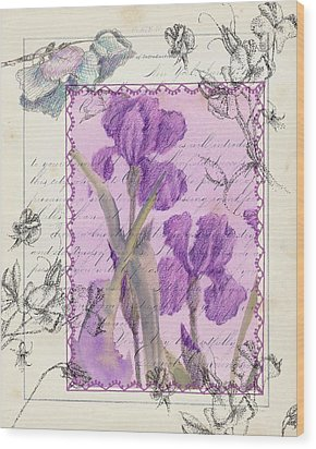Wood Print featuring the drawing Purple Iris by Cathie Richardson