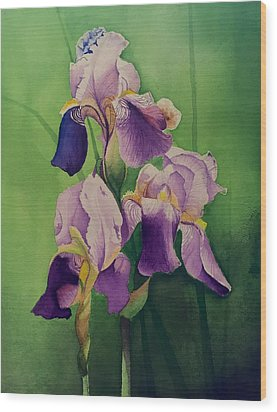 Purple Iris' Wood Print
