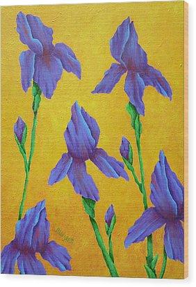 Purple Iris Wood Print by Pamela Allegretto