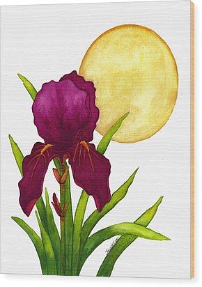 Purple Iris Wood Print by Stephanie  Jolley