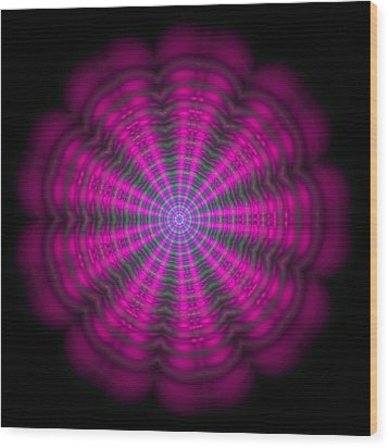 Purple Lightmandala Ripples Wood Print