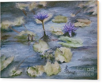 Wood Print featuring the painting Purple Lily by Brenda Thour