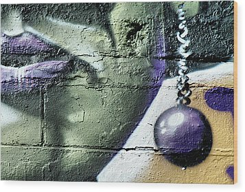 Purple Lips And Earring Wood Print