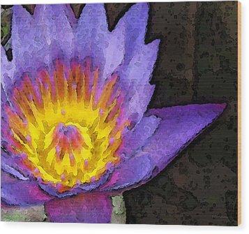 Purple Lotus Flower - Zen Art Painting Wood Print by Sharon Cummings