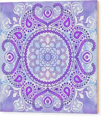 Purple Lotus Mandala Wood Print by Tammy Wetzel