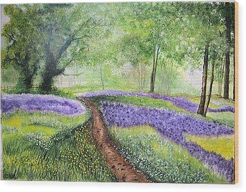 Purple Meadow Wood Print by Maris Sherwood