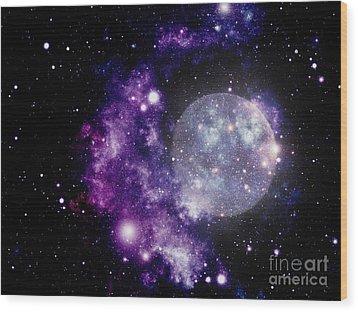 Purple Nebula Wood Print