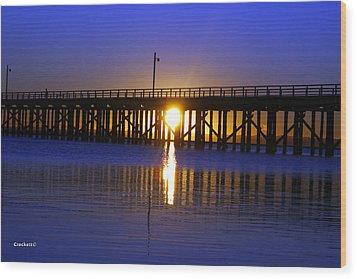 Purple Ocean Sunrise Wood Print