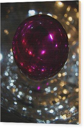 Purple Orb Wood Print by Mark Holbrook