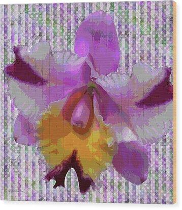 Purple Orchid Design Wood Print by Rosalie Scanlon