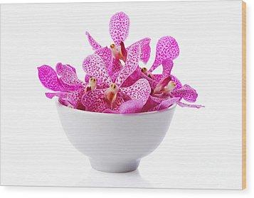 Purple Orchid Head Wood Print