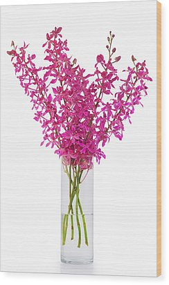 Purple Orchid In Vase Wood Print by Atiketta Sangasaeng