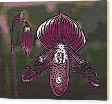 Purple Orchid Woodcut Wood Print by Ann Tracy