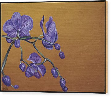 Purple Orchids Wood Print by Edward Williams