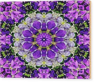 Purple Passion Floral Design Wood Print