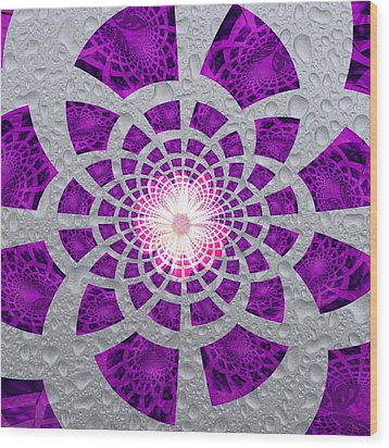 Wood Print featuring the digital art Purple Patched by Amanda Eberly-Kudamik
