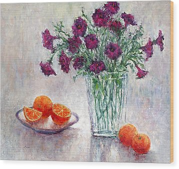 Purple Petunias And Oranges Wood Print