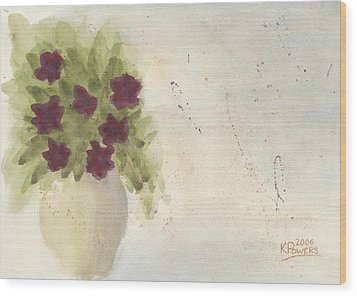 Purple Petunias Wood Print by Ken Powers