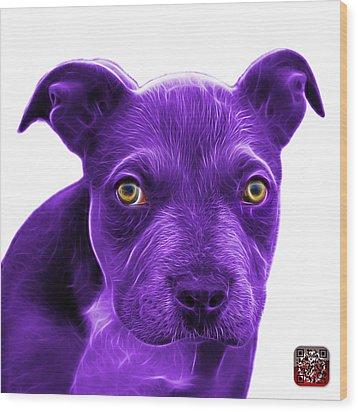 Purple Pitbull Puppy Pop Art - 7085 Wb Wood Print by James Ahn