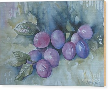 Wood Print featuring the painting Purple Plums by Elena Oleniuc
