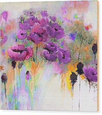 Purple Poppy Passion Painting Wood Print