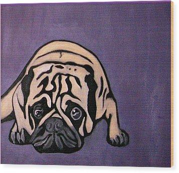 Purple Pug Wood Print by Darren Stein