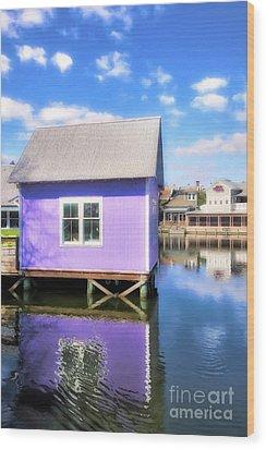 Purple Reflections Wood Print by Mel Steinhauer