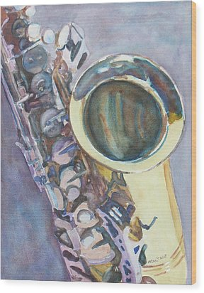 Purple Sax Wood Print by Jenny Armitage