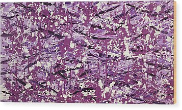 Purple Splatter Wood Print